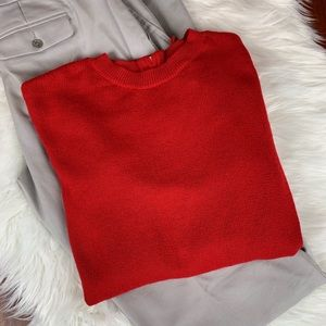 H&M Conscious Red Zip Back Wool Blend Sweater XS